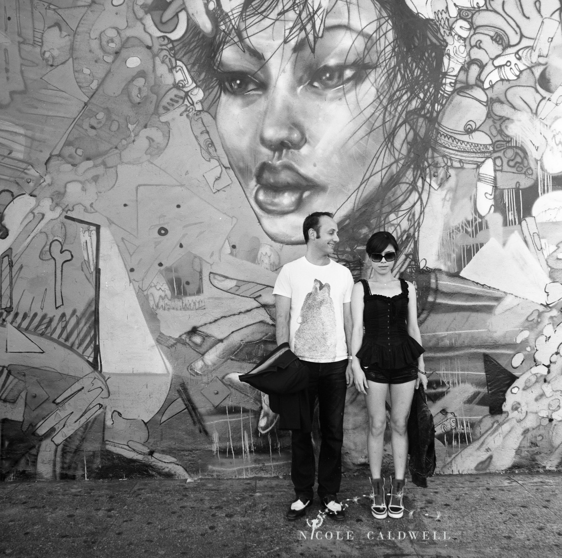 engagement session downtown la arts district David Choe by Nicole Caldwell