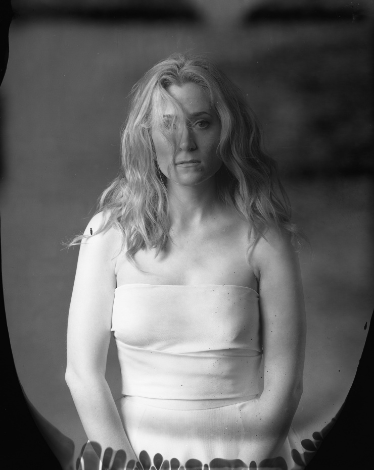 new 55 film portrait of bride in photostudio