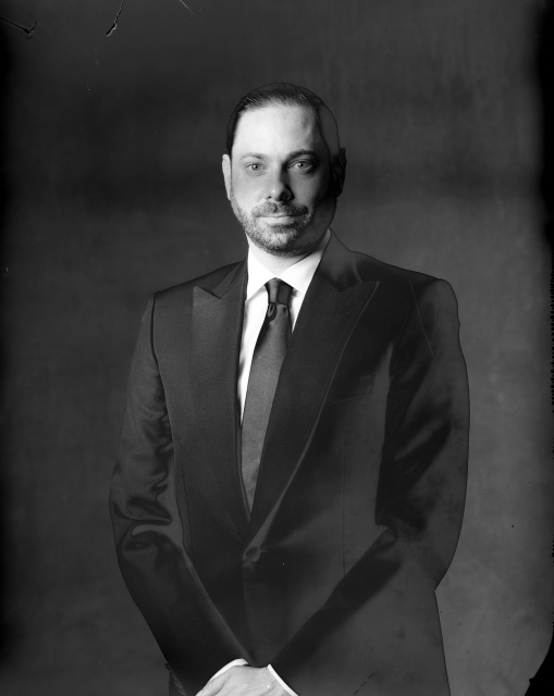 new 55 film photography studio portrait of groom