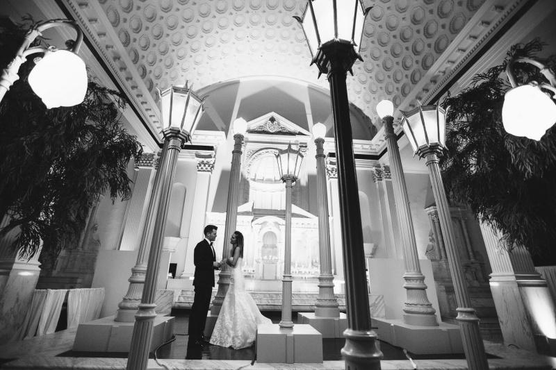 bride and groom vibiana wedding urban light