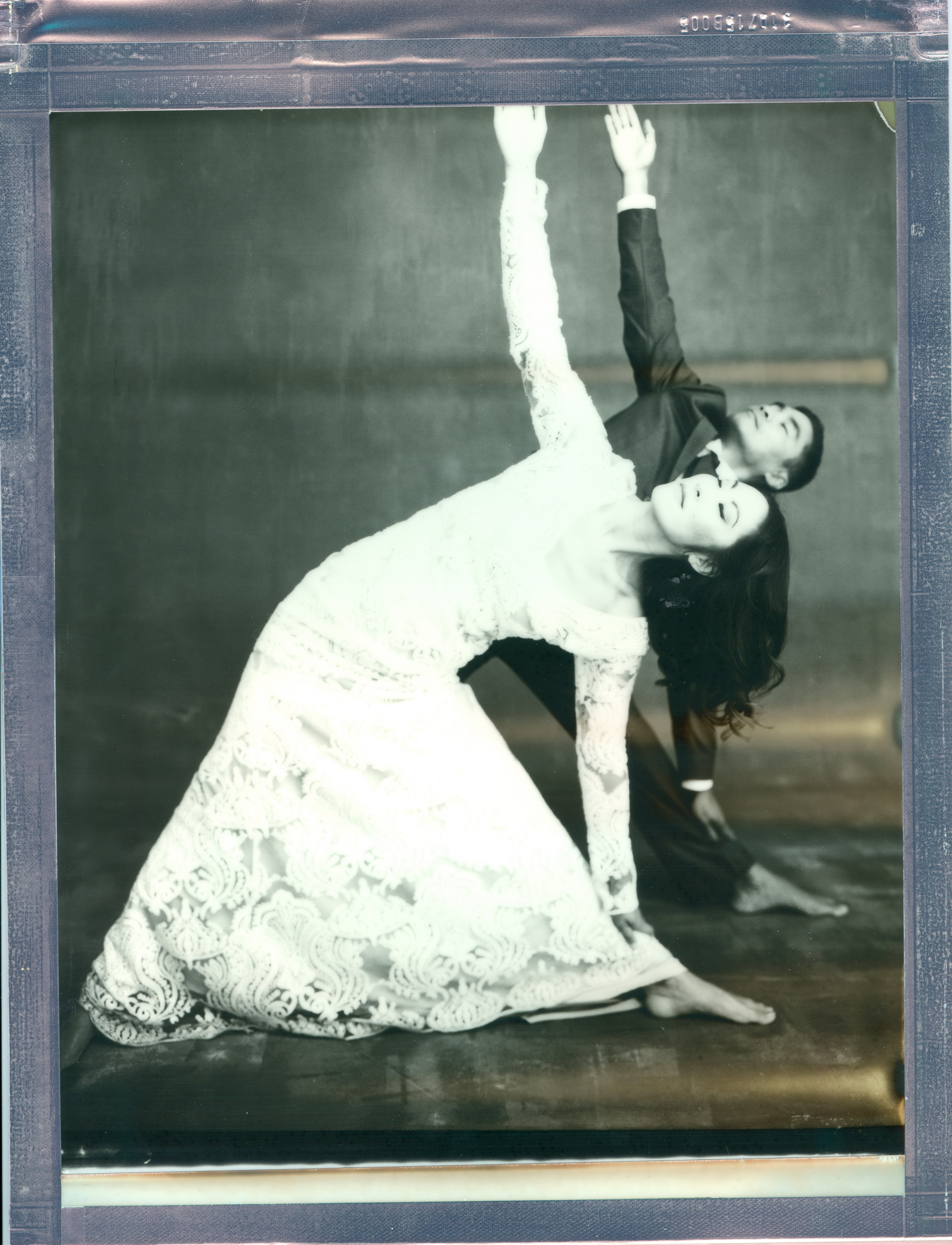 yoga couple wedding 8 x 10 polaroid impossible project triangle pose