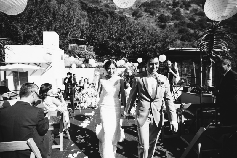 seven degrees wedding laguna beach photographer nicole caldwell just married couple walking down aisle